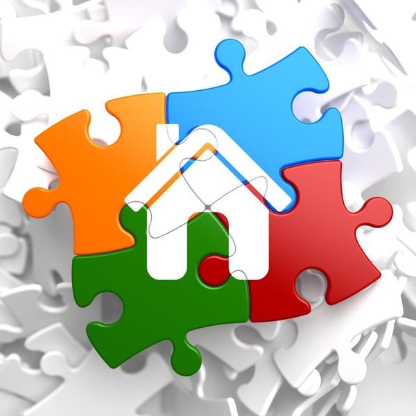 Home Icon on Multicolor Puzzle.-1-1