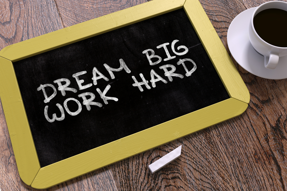 Dream Big, Work Hard. Inspirational Quote on Small Yellow Chalkboard. Business Background. Top View.